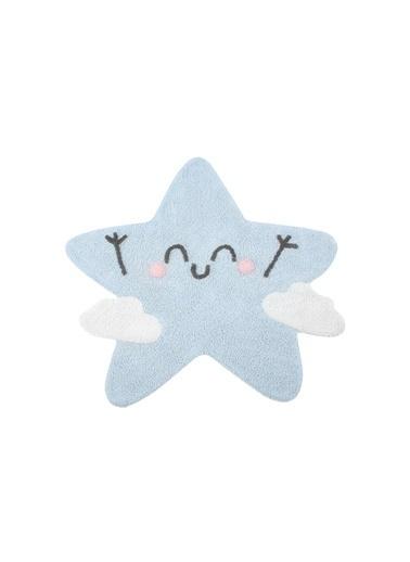 Lorena Canals Silüet Happy Star, Halı,120 x 120 Mavi